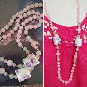 Porcelain, Rose Quartz, Adventurine Necklace